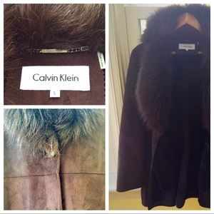 CALVIN KLEIN Chocolate Brown faux suede fur coat L